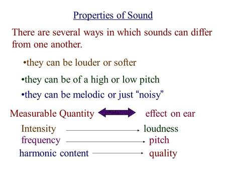 Properties of Sound There are several ways in which sounds can differ from one another. they can be louder or softer they can be of a high or low pitch.