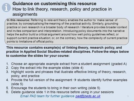 1 This resource contains example(s) of linking theory, research policy, and practice in Applied Social Studies-related disciplines. Follow the steps below.