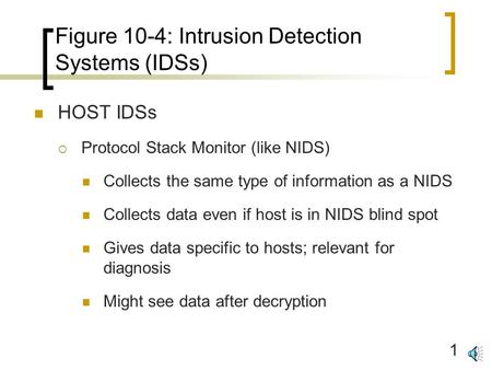 1 Figure 10-4: Intrusion Detection Systems (IDSs) HOST IDSs  Protocol Stack Monitor (like NIDS) Collects the same type of information as a NIDS Collects.
