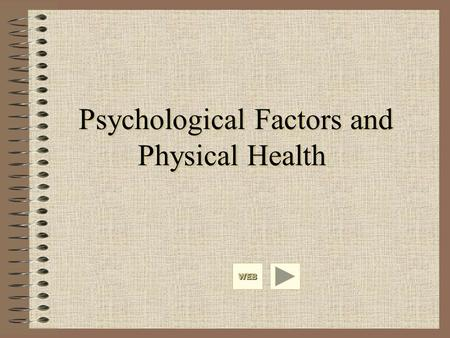 Psychological Factors and Physical Health WEB. Hans Selye General Adaptation Syndrome Three stages of disease development –Alarm –Resistance –Exhaustion.