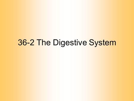 36-2 The Digestive System. Digestive Tract Alimentary canal –one way passage through the body Function: –to convert food into simple molecules that can.