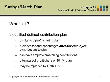 Chapter 19 Employee Benefit & Retirement Planning Savings/Match Plan Copyright 2011, The National Underwriter Company1 What is it? a qualified defined.
