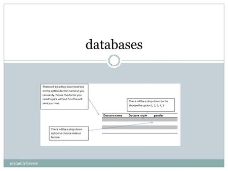 Databases macaully havery. What is a database A database is an organized collection of data. The data are typically organized to model and supports this.