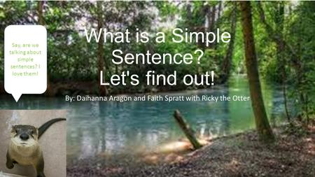 What is a Simple Sentence? Let's find out! By: Daihanna Aragon and Faith Spratt with Ricky the Otter Say, are we talking about simple sentences? I love.