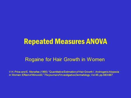 "Repeated Measures ANOVA Rogaine for Hair Growth in Women V.H. Price and E. Menefee (1990). ""Quantitative Estimation of Hair Growth I. Androgenic Alopecia."