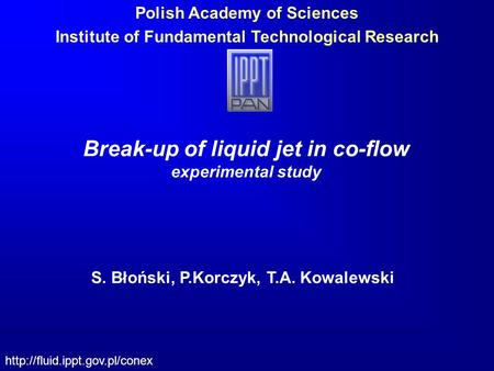 Polish Academy of Sciences Institute of Fundamental Technological Research  Break-up of liquid jet in co-flow experimental.