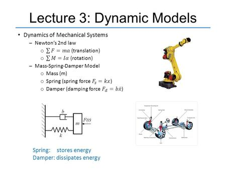 Lecture 3: Dynamic Models Spring: stores energy Damper: dissipates energy.