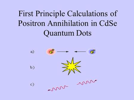 First Principle Calculations of Positron Annihilation in CdSe Quantum Dots.