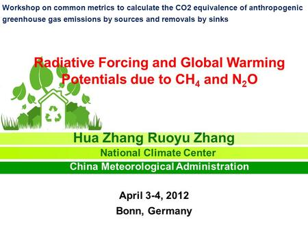 Radiative Forcing and Global Warming Potentials due to CH 4 and N 2 O Hua Zhang Ruoyu Zhang National Climate Center China Meteorological Administration.