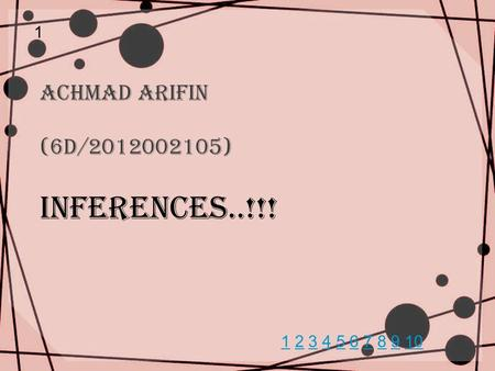 Achmad Arifin (6D/2012002105) INFERENCEs..!!! 1 11 2 3 4 5 6 7 8 9 102345678910.