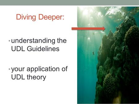 Diving Deeper: understanding the UDL Guidelines your application of UDL theory.