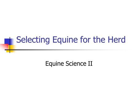 Selecting Equine for the Herd Equine Science II. Importance of Age 1. The productive life or period of an equine's usefulness is comparatively brief.