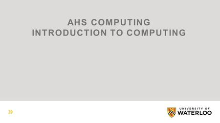 AHS COMPUTING INTRODUCTION TO COMPUTING. AHS COMPUTING PERSONNEL.