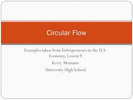 Examples taken from Entrepreneurs in the U.S. Economy, Lesson 9 Kerry Montano University High School Circular Flow.
