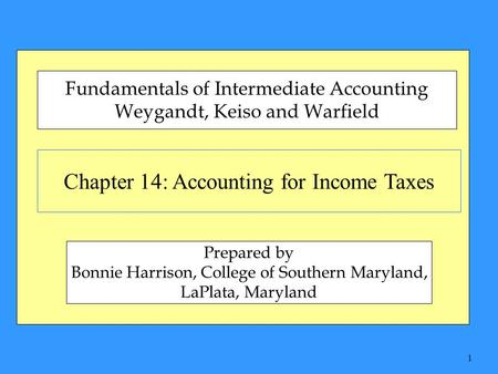 1 Chapter 14: Accounting for Income Taxes Fundamentals of Intermediate Accounting Weygandt, Keiso and Warfield Prepared by Bonnie Harrison, College of.