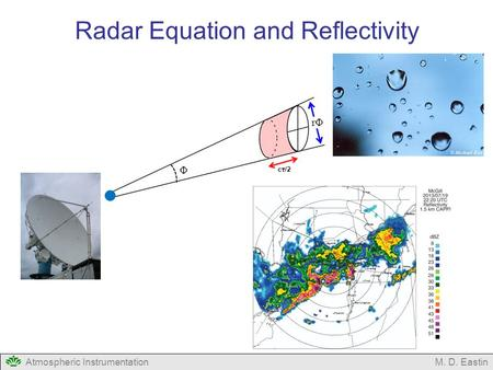 Atmospheric InstrumentationM. D. Eastin Radar Equation and Reflectivity Φ rΦrΦ c τ /2.