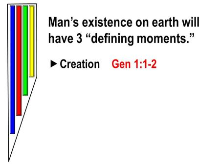 "Man's existence on earth will have 3 ""defining moments.""  Creation Gen 1:1-2."