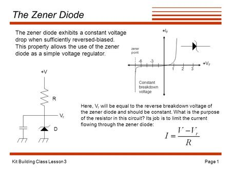 Kit Building Class Lesson 3Page 1 The Zener Diode +V F +I F -3-6 123 zener point Constant breakdown voltage The zener diode exhibits a constant voltage.
