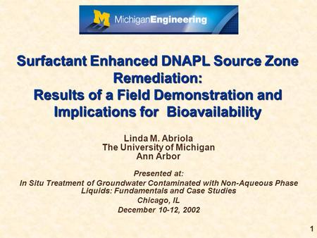 1 Linda M. Abriola The University of Michigan Ann Arbor Presented at: In Situ Treatment of Groundwater Contaminated with Non-Aqueous Phase Liquids: Fundamentals.
