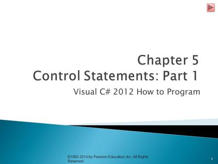 Visual C# 2012 How to Program ©1992-2014 by Pearson Education, Inc. All Rights Reserved. 1.