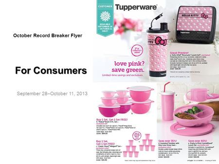 For Consumers September 28–October 11, 2013 October Record Breaker Flyer.
