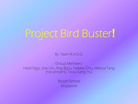 Project Bird Buster ! By: Team R.A.G.G. Group Members: Heidi Ngo, Jina Lim, Ang Bijou, Natalie Chiu, Melissa Tang (not present), Teow Kang Hui Rosyth School.