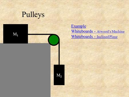 Pulleys Example Whiteboards - Atwood's Machine Whiteboards - Inclined Plane M1M1 M2M2.