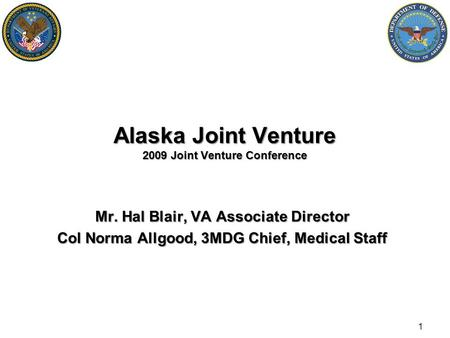 Alaska Joint Venture 2009 Joint Venture Conference Mr. Hal Blair, VA Associate Director Col Norma Allgood, 3MDG Chief, Medical Staff 1.