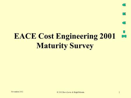 © 2002 Dave Lewis & Hugh Pickerin 1 November 2002 EACE Cost Engineering 2001 Maturity Survey.