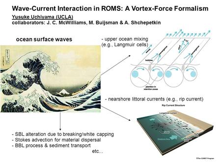 Ocean surface waves - nearshore littoral currents (e.g., rip current)‏ - upper ocean mixing (e.g., Langmuir cells)‏ Wave-Current Interaction in ROMS: A.