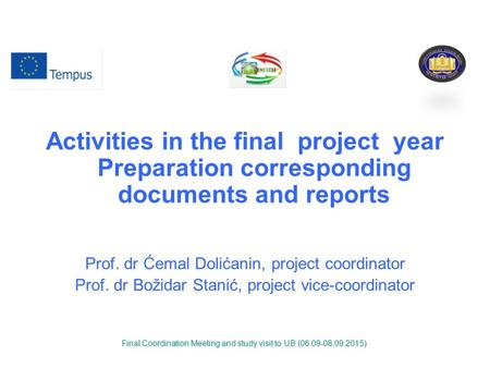 Activities in the final project year Preparation corresponding documents and reports Prof. dr Ćemal Dolićanin, project coordinator Prof. dr Božidar Stanić,