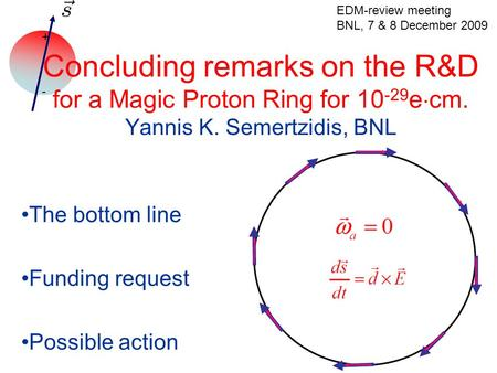 + - Concluding remarks on the R&D for a Magic Proton Ring for 10 -29 e  cm. Yannis K. Semertzidis, BNL The bottom line Funding request Possible action.