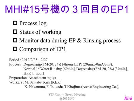  Process log  Status of working  Monitor data during EP & Rinsing process  Comparison of EP1 Period : 2012/2/23 ~ 2/27 Process : Degreasing (FM-20,