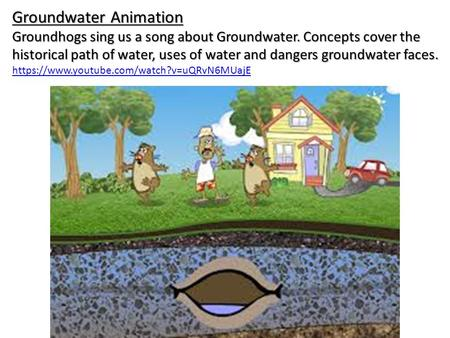 Groundwater Animation Groundhogs sing us a song about Groundwater. Concepts cover the historical path of water, uses of water and dangers groundwater faces.