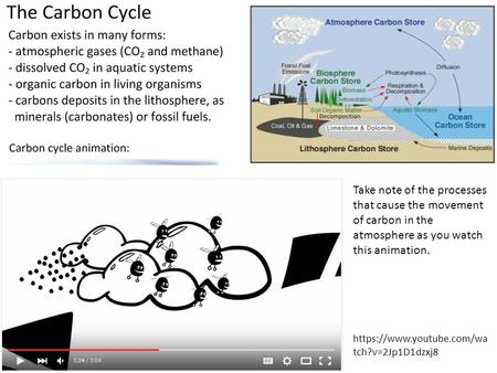 Take note of the processes that cause the movement of carbon in the atmosphere as you watch this animation. https://www.youtube.com/wa tch?v=2Jp1D1dzxj8.