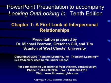 Chapter 1: A First Look at Interpersonal Relationships