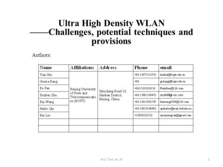 Ultra High Density WLAN ——Challenges, potential techniques and provisions Authors: 1Hui Tian, et. Al.