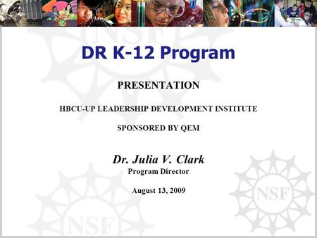 DR K-12 Program PRESENTATION HBCU-UP LEADERSHIP DEVELOPMENT INSTITUTE SPONSORED BY QEM Dr. Julia V. Clark Program Director August 13, 2009.