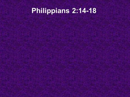 Philippians 2:14-18. How's Paul's thought process working? Downward Mobility… How do you do that? Being a bottom feeder?