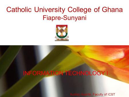 Catholic University College of Ghana Fiapre-Sunyani INFORMATION TECHNOLOGY I Audrey Asante, Faculty of ICST.