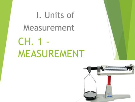 CH. 1 - MEASUREMENT I. Units of Measurement. Scientific Method.