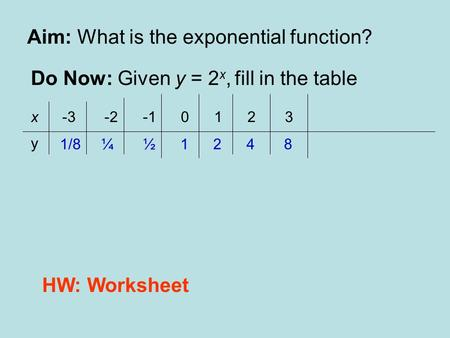 Aim: What is the exponential function? Do Now: Given y = 2 x, fill in the table x -3 -2 -1 0 1 2 3 1/8 ¼ ½ 1 2 4 8 y HW: Worksheet.