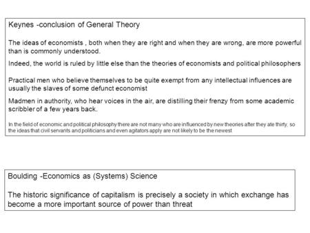 Keynes -conclusion of General Theory The ideas of economists, both when they are right and when they are wrong, are more powerful than is commonly understood.