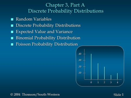 1 1 Slide © 2004 Thomson/South-Western Chapter 3, Part A Discrete Probability Distributions n Random Variables n Discrete Probability Distributions n Expected.