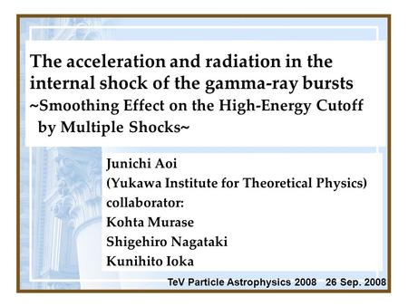 The acceleration and radiation in the internal shock of the gamma-ray bursts ~ Smoothing Effect on the High-Energy Cutoff by Multiple Shocks ~ Junichi.