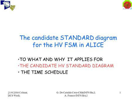 21/6/2004 Colmar, DCS Work. G. De Cataldo Cern-CH&INFN Ba,I; A. Franco INFN BA,I 1 The candidate STANDARD diagram for the HV FSM in ALICE TO WHAT AND WHY.