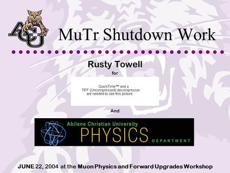 MuTr Shutdown Work Rusty Towell for And JUNE 22, 2004 at the Muon Physics and Forward Upgrades Workshop.
