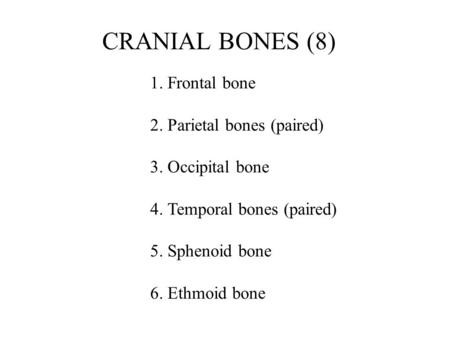 1. Frontal bone 2. Parietal bones (paired) 3. Occipital bone 4. Temporal bones (paired) 5. Sphenoid bone 6. Ethmoid bone CRANIAL BONES (8)
