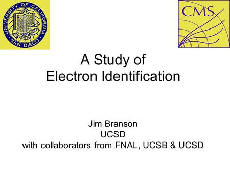 A Study of Electron Identification Jim Branson UCSD with collaborators from FNAL, UCSB & UCSD.