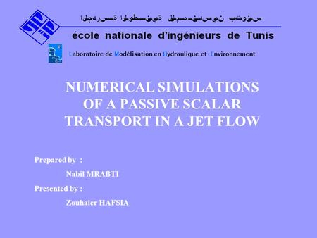 NUMERICAL SIMULATIONS OF A PASSIVE SCALAR TRANSPORT IN A JET FLOW Laboratoire de Modélisation en Hydraulique et Environnement Prepared by : Nabil MRABTI.